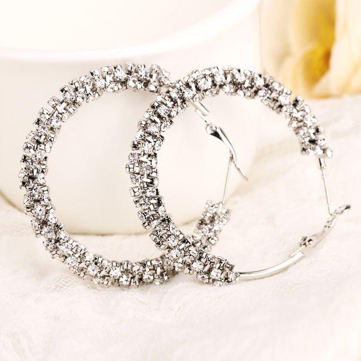 2016 new hot selling tendy popular crystal big earring new fashion circle rhinestone hoop earrings for women wholesale E006