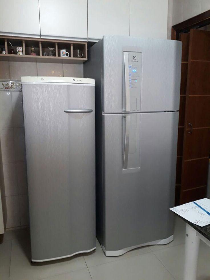 Envelopamento de geladeira com Inox - Aço Escovado
