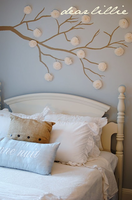 Branch in little girl's room.....made with tissue paper.