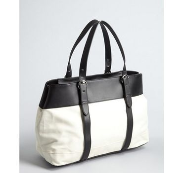 White coated canvas shoulder tote bag by Sequoia Paris - $99
