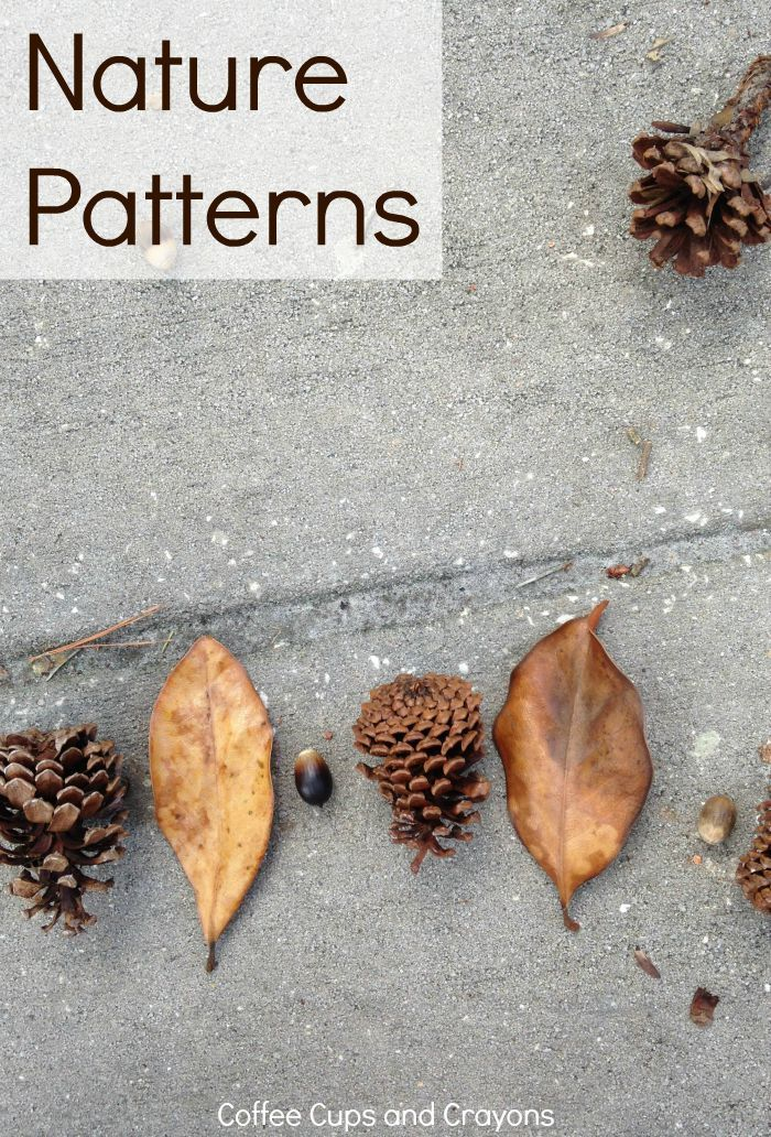 Teach Kids Math Patterns Using Nature!  There are so many math patterns in nature–which makes it the perfect place for kids to practice! Going outdoors is a great way to play with math and this nature pattern activity requires no prep on your part so it c