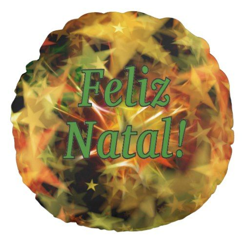Feliz Natal! Merry Christmas in Portuguese gf Round Pillow