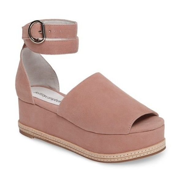 Women's Jeffrey Campbell Baywood Ankle Strap Platform Sandal (150 CAD) ❤ liked on Polyvore featuring shoes, sandals, blush suede, jeffrey campbell sandals, ankle tie sandals, leather buckle sandals, ankle wrap sandals and buckle shoes