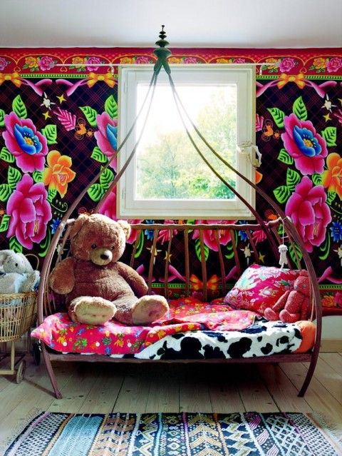 kids colorful room love the wall paper