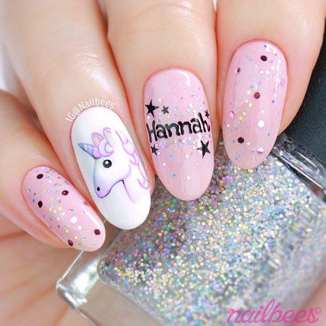 12 best nail art images on pinterest unicorn nail art birthday unicorn nail art inspired by the talented birthday girl hannah hannahnailsit i prinsesfo Images
