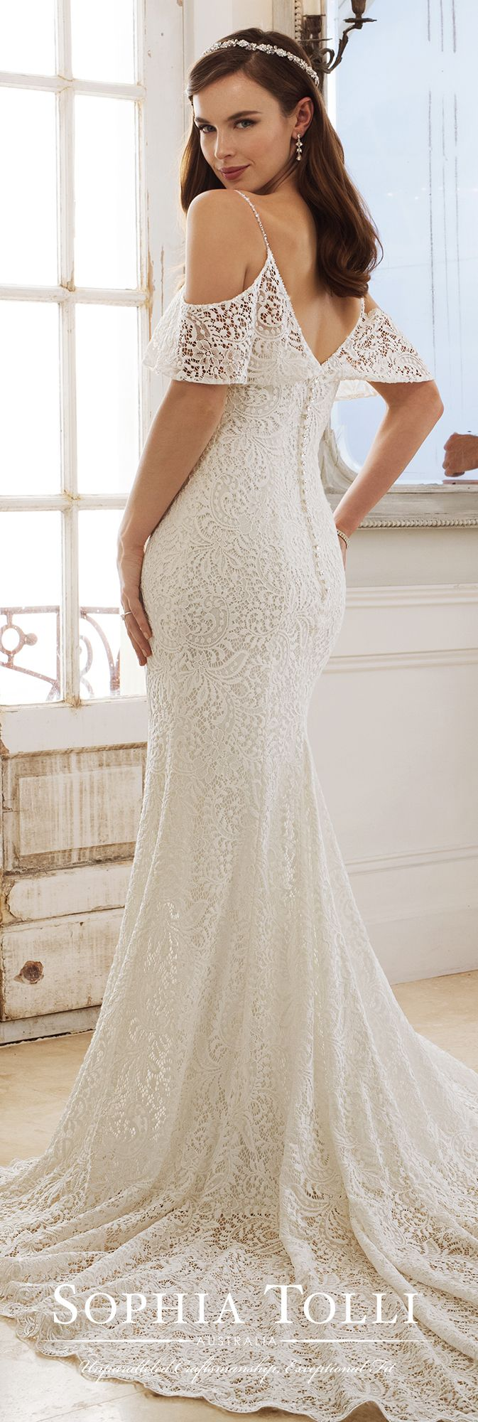 Sophia Tolli Y11875 Rhea - Fabulously on-trend, Rhea is a lace over stretch jersey sheath with a cold shoulder ruffled neckline, beaded spaghetti straps, princess line lace trim, a V-back finished with a zipper trimmed with diamante buttons, a scalloped lace hem and a chapel train.