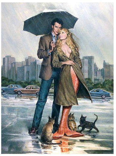 A fantastic artwork depicting Tom Hanks and Daryl Hannah in Splash.