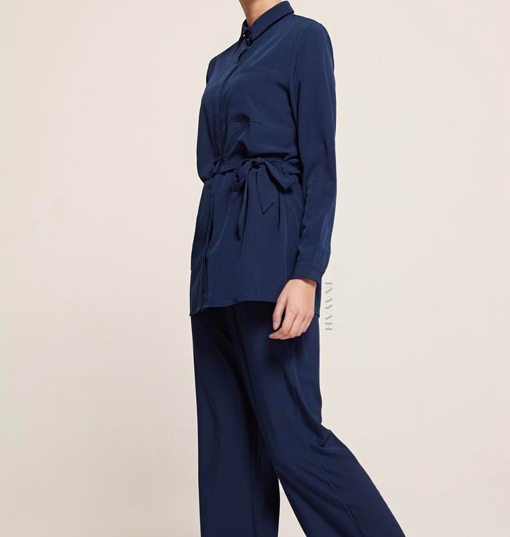 INAYAH | A modern style limited edition shirt designed with a side tie detail. Pair with matching trousers for the perfect coordinated look. Navy Shirt with Side Tie Detail Navy Wide Leg Trousers www.inayah.co