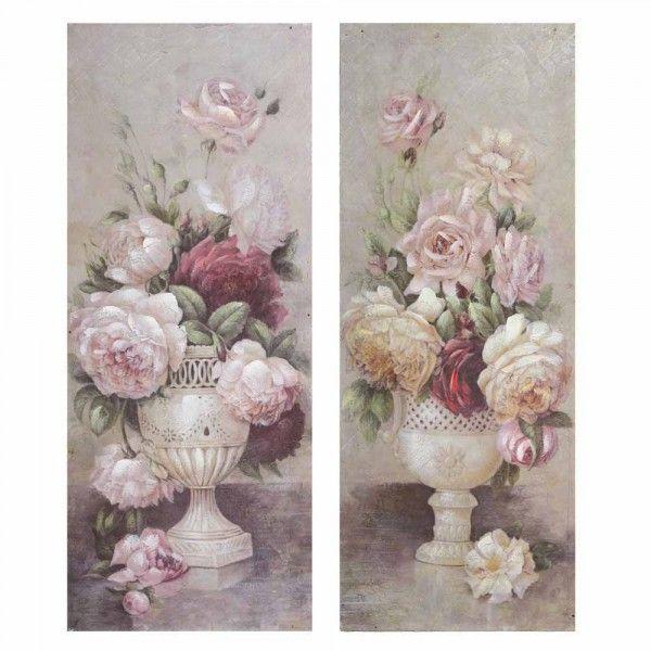 Quadri fiori verticali colori delicati