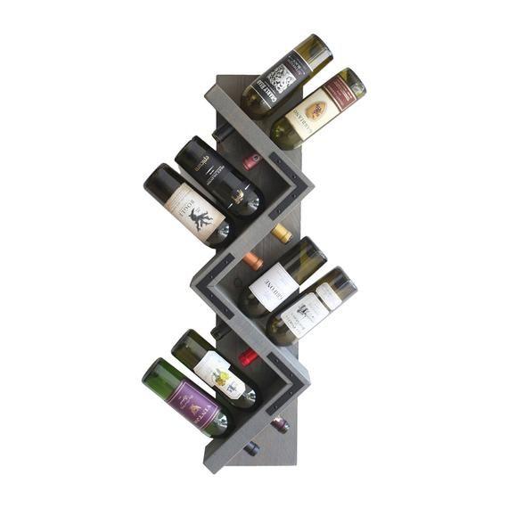 Rustic Wine Rack Wall Mounted Zig Zag Wood Wine Bottle Etsy In 2020 Wine Rack Wall Wine Rack Wine Bottle Display