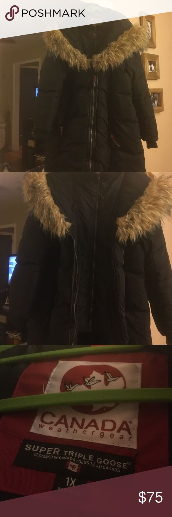 Canadian Goose Down Coat Black down coat with inner zip lining, very warm. Only worn a few times Canada Goose Jackets & Coats Puffers