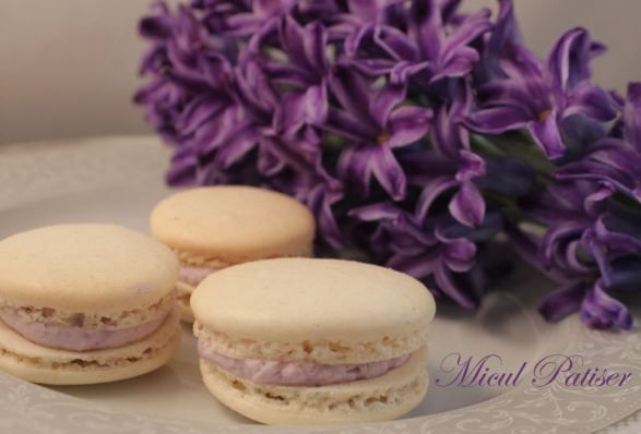Macarons cu vanilie si crema de afine - Vanilla macarons with cranberries cream