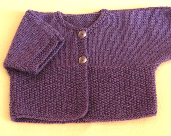 Gilet - Cardigan - En laine - Manches courtes - Coloris Violet - Bébé Fille - Taille 12 - 18 mois - Gilet été - Hiver - Tricoté à la main