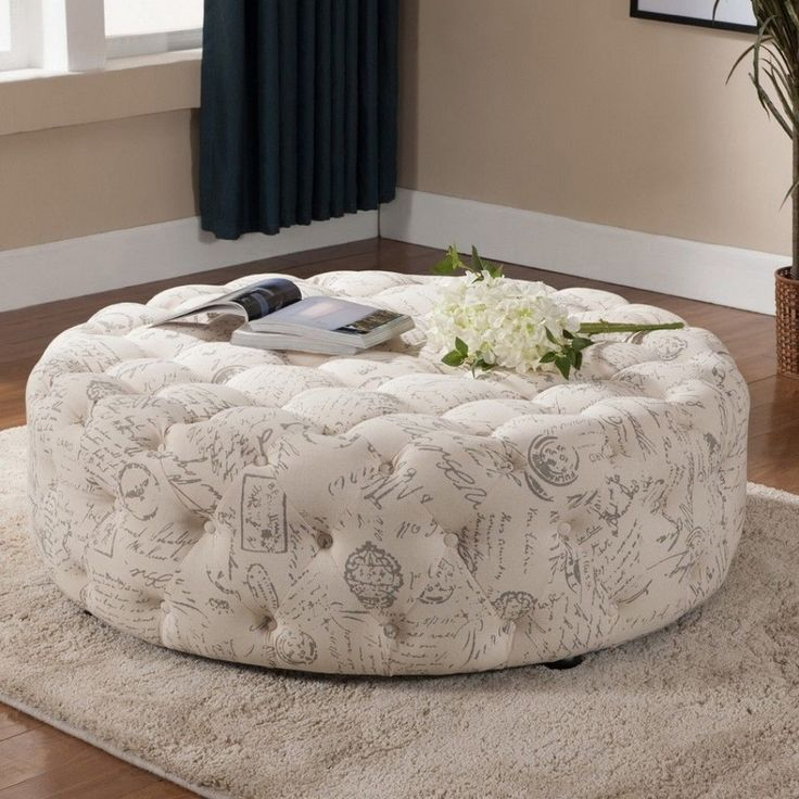 Great Baxton Studio Cardiff Patterned Linen Modern Tufted Ottoman   Overstock™  Shopping   Great Deals On Baxton Studio Ottomans