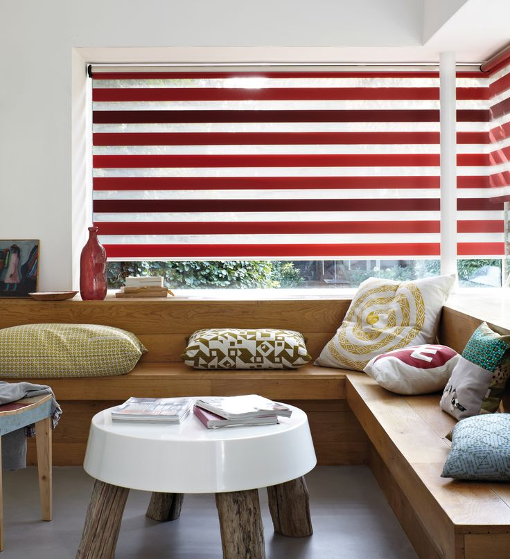 Amazing addition to existing window coverings. Two sliding layers of fabric with sheer horizontal strips, contemporary addition to existing styles of window  coverings. It's an amazingly simple and effective method for choosing just the right amount of incoming light and  privacy.