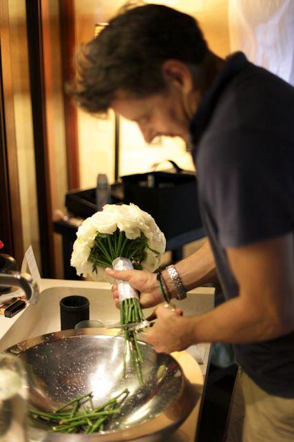 Alex cutting flowers