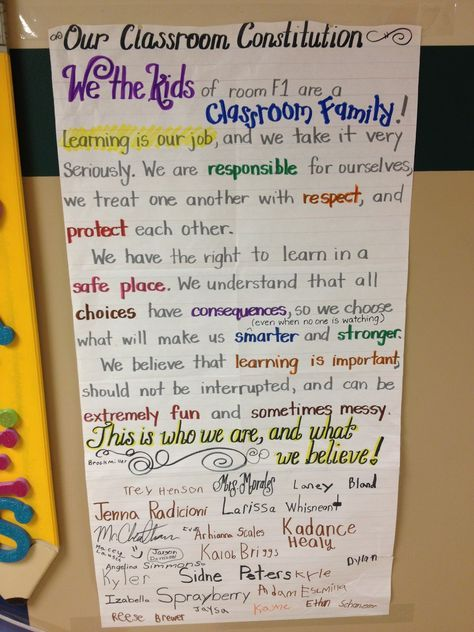 "5th Grade NYS Learning Standard CITIZENSHIP AND CIVIC LIFE: Constitutions, rules, and laws are developed in democratic societies in order to maintain order, provide security, and protect individual rights. This is an example of a ""classroom constitution"" made together as a class. It allows your students to become more comfortable as a learning community. Also students are more inclined to follow and not break their own rules rather than rules that the teacher sets."