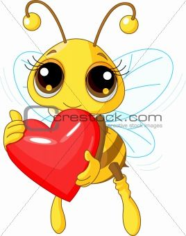 bumble bee cartoon images | Image 3347348: Cute Bee holding Love heart from Crestock Stock Photos