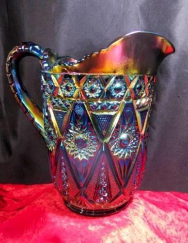 sizzlng Imperial с бриллиантами кружево ~ электрический синий фиолетовый красный карнавальное стекло кувшин! in Керамика и стекло, Стекло, Стеклянная посуда, Пресованное, карнавальное стекло, Винтаж (до 1940 г.), Империальный | eBay