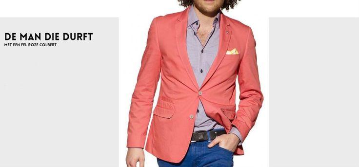 Voor de man die durft: een casual smart look met een fel gekleurde blazer