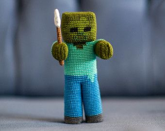 Crochet Pattern of Zombie with a shovel (Amigurumi tutorial PDF file)