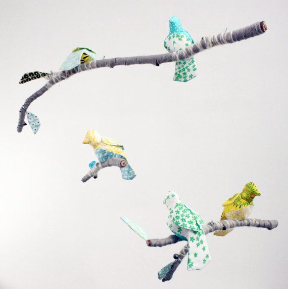 Custom 5 Bird Mobile for Baby Nursery Decor - modern fabric sculpture on yarn wrapped branches