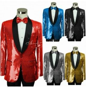 Black red royal blue turquoise  gold long sleeves lapel black patchwork collar sequins glitter paillette  men's male party cos play stage performance jazz ds singer dancing blazers and pants outfits