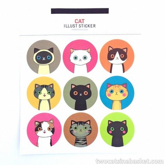 Cat Illust Stickers - TWO CATS IN A BASKET