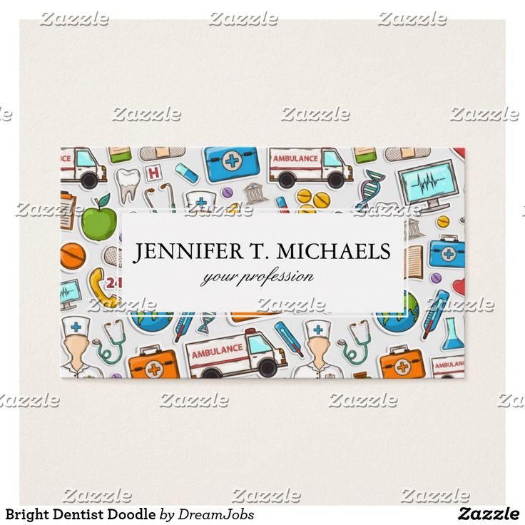 Bright Dentist Doodle. Producto disponible en tienda Zazzle. Product available in Zazzle store. #BusinessCard #tarjeta #card