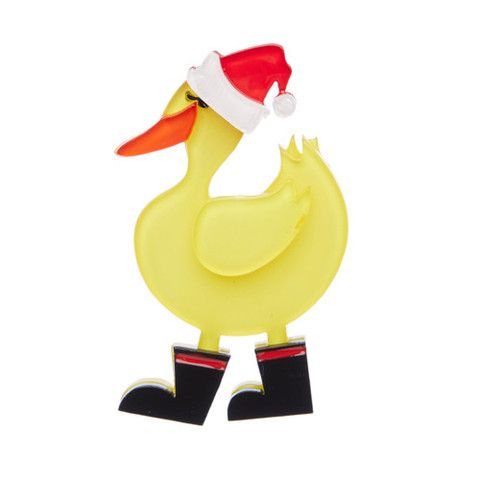 "Erstwilder Limited Edition Merry Quack-Mas Brooch. ""What kind of Christmas would it be without some traditional Christmas Quack-ers and a visit from Father Quack-mas?"""