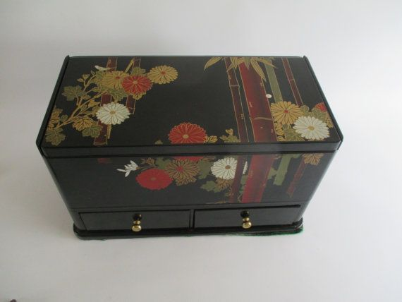 Vanity Box Vintage Black 'Lacquer' Tissue Holder by HobbitHouse