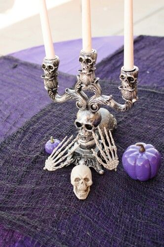 Skull candle centerpiece my zombie wedding pinterest