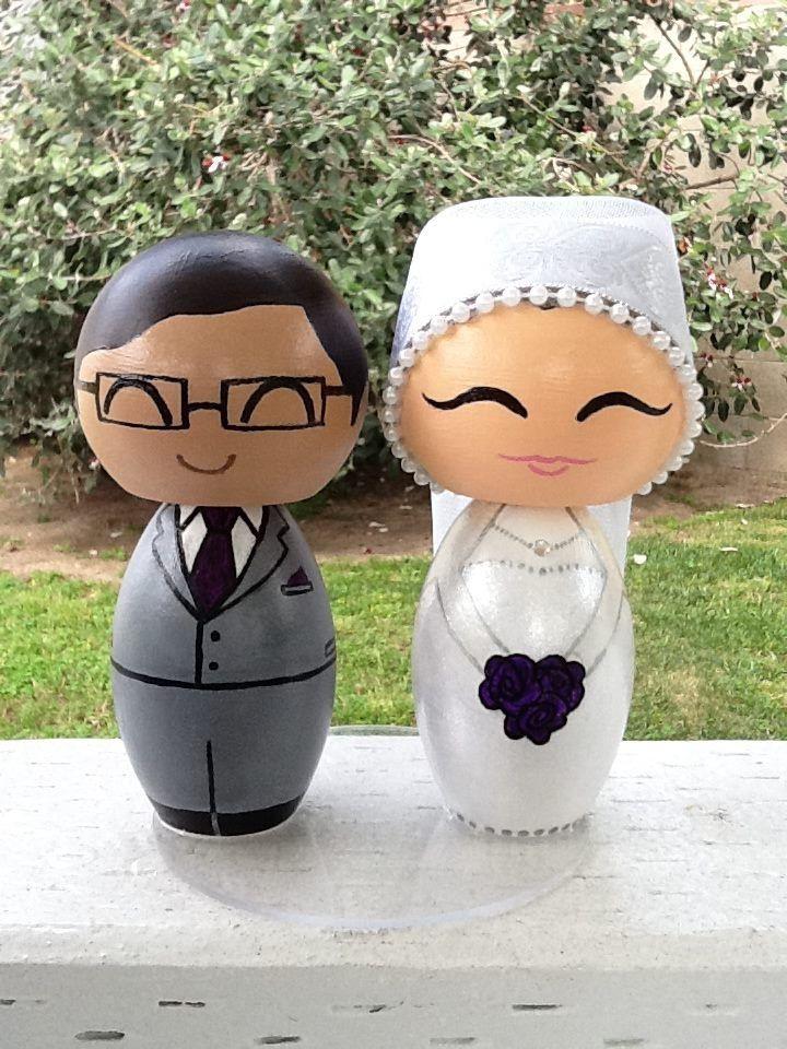 Custom handmade wedding kokeshi cake topper by ohmissco on Etsy. Bride is wearing solid brocade hijab. {www.ohmissco.etsy.com}