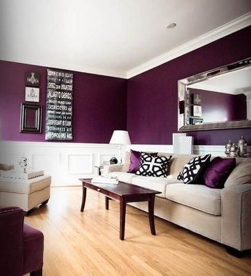 Wonderful Purple Living Room Themes Color Ideas Love The Deep With Cream Grey Tones
