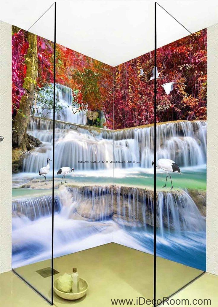 3D Wallpaper Autumn Red Forest Waterfall Birds Wall Murals Bathroom Decals Wall Art Print Home Office Decor