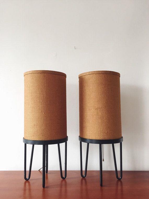 Mid Century Modern Lamp Set . Tripod lamp . Hairpin legs . Burlap Shade . Barrel Lamps