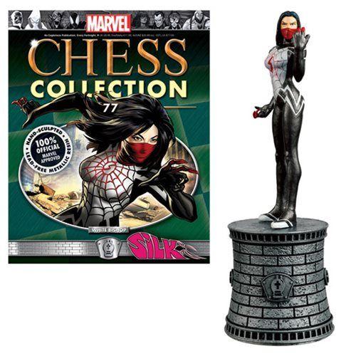 Silk White Bishop Chess   A Coleção Marvel Chess é constituída pelos maiores heróis e vilões do Universo Marvel.Este Silk White Bishop Chess vem com uma revista de coletores detalhada em um polybag. Spiderman