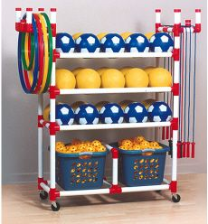 PVC Playground Cart-this is what we have at our school...LOVE it! Want to make one for my son's birthday gift....not this big though.