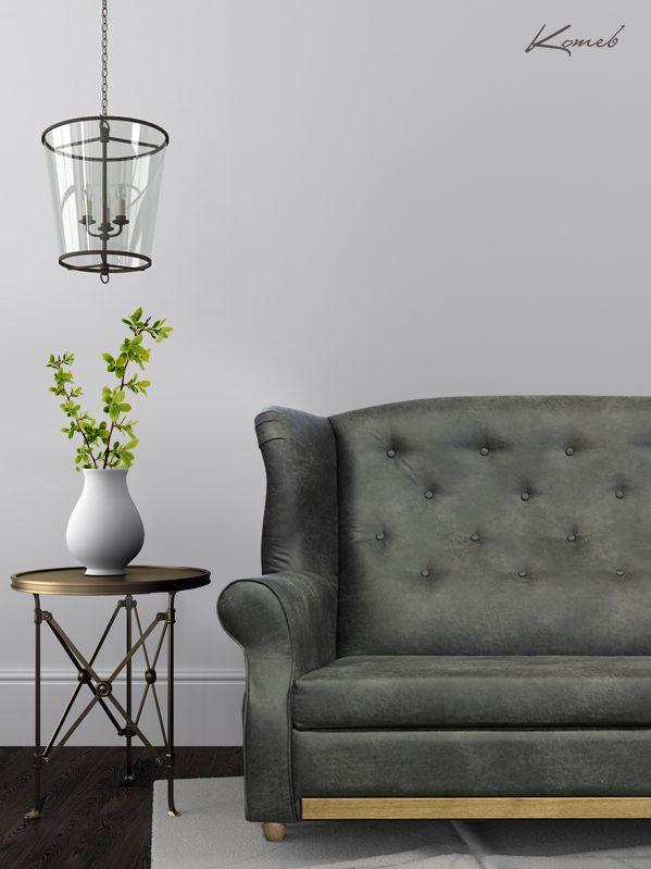 Sofa Anna w eleganckiej czarnej skórze. Szlachetna forma oraz ozdobne pikowania to sprawdzony sposób na wystrój wnętrz w stylu kolonialnym lub angielskiej klasyki.