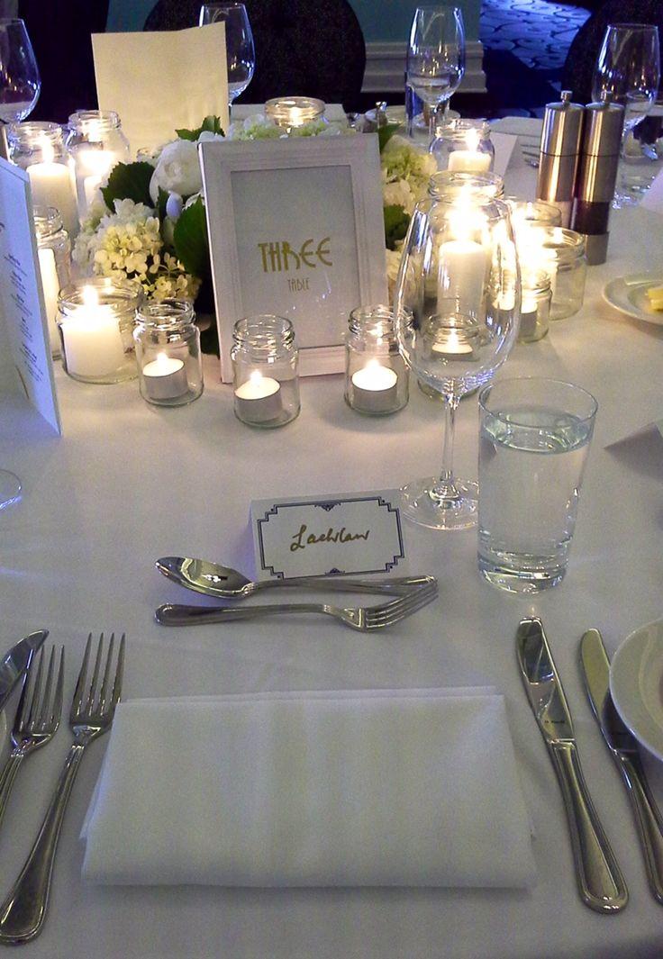 Table setting - white wedding style... #ivyandmoss #classicwedding #whitewedding #wedding #tablesetting #candles #flowers #eventstyling