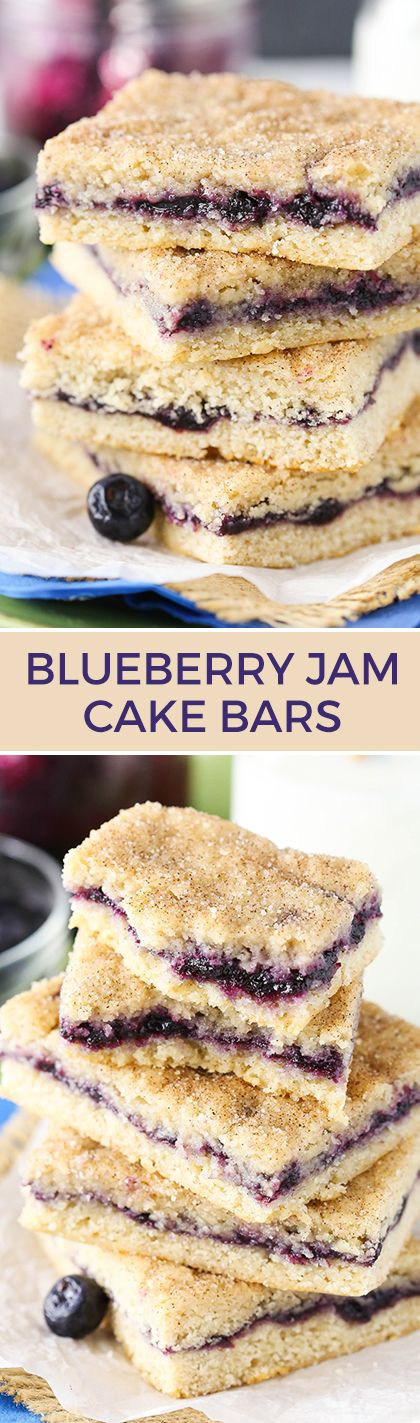 Blueberry Jam Cake Bars - these are amazing! Soft and moist and just like eating cake but in denser bar form! So easy to make!: