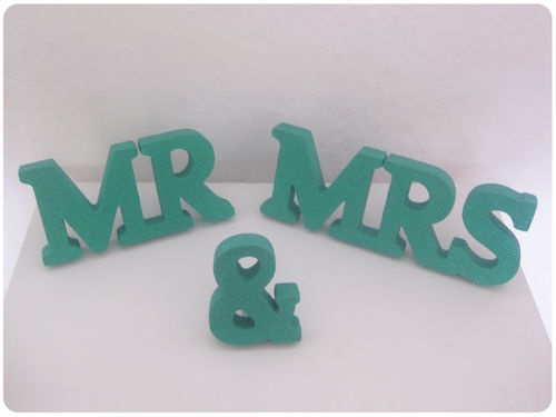 PERSONALISED MR AND & MRS SIGN * SPARKLY JADE GREEN GLITTER * Wedding Letters | eBay