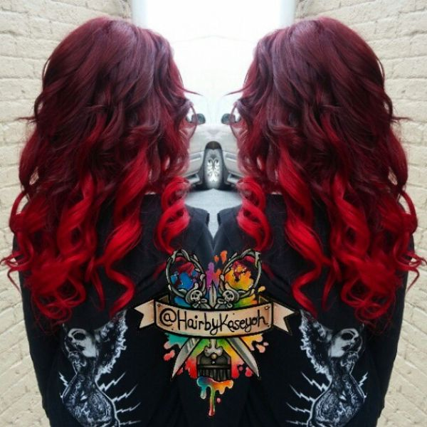 Scarlet red hair color idea with ombre effect~ cannot stop love it~
