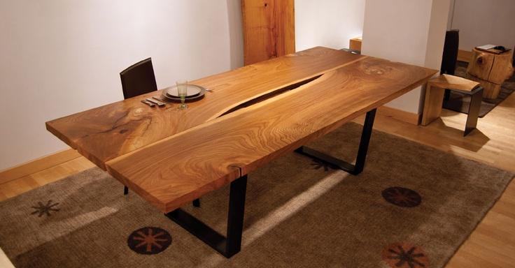 wood slab dining table dining room ideas pinterest. Black Bedroom Furniture Sets. Home Design Ideas