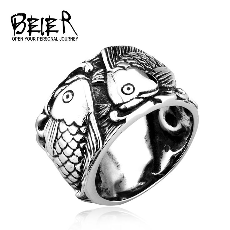 Retro Embossed Fish Ring Chinese Style Fashion Men Women Personality TITANIUM Steel Animal Jewelry BR8-257 US size