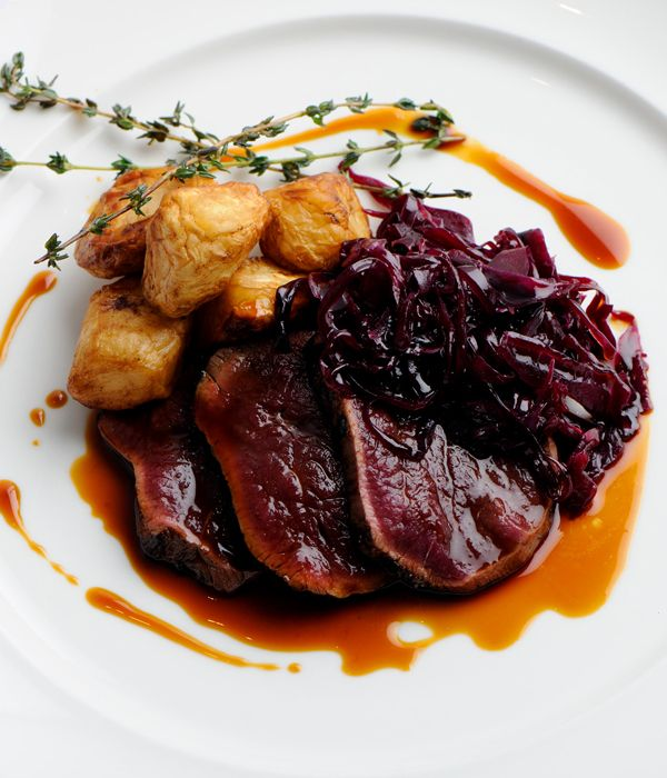 The peppery dittander and spiced cabbage add a beautifully autumnal feel to this exciting dish. This venison leg recipe also requires cooking with hay; be sure you keep an eye on it and don't let it burn.