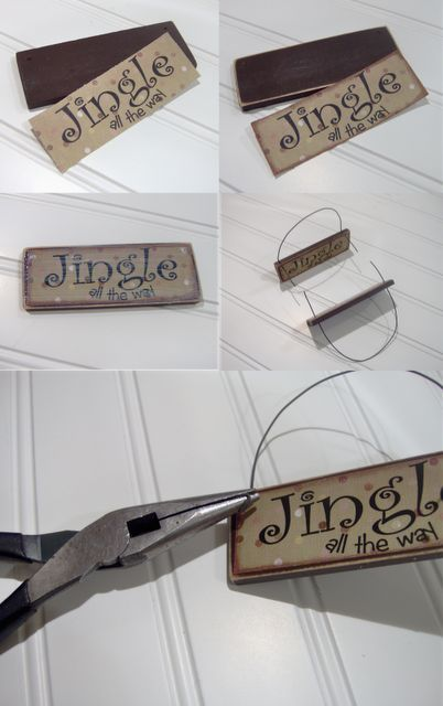 Large (5 gal) paint stir sticks + printed graphics + decoupage + wire = ornaments or tags. Personalize with name, year, or even photo.
