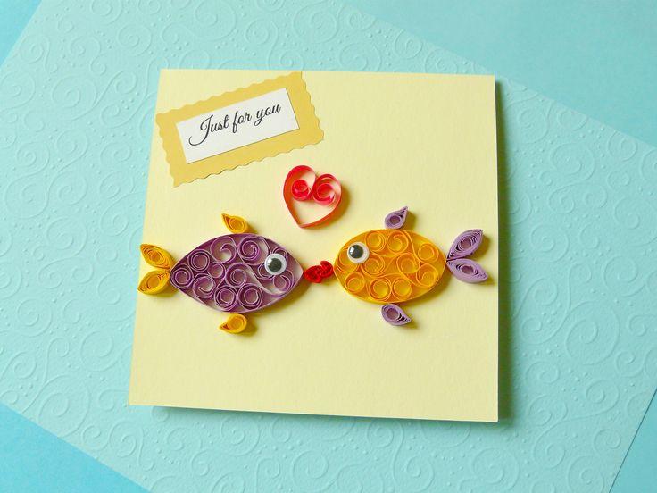 Fish and... love. Kartka lub oryginalne zaproszenie ślubne.  #handmade #cardmaking #quilling #invitation #recznierobione #kartka