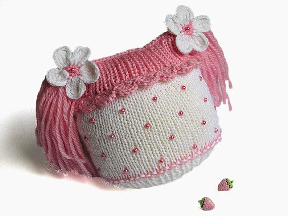 Hand knitted baby girls hat with  amusing tails ,baby girls knitted pink beanie/ size 4-7M
