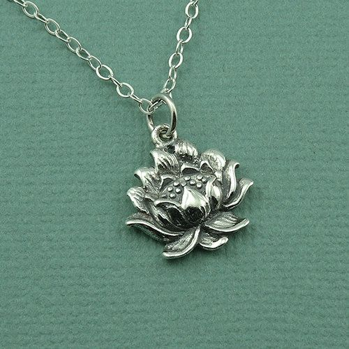 Detailed Lotus Flower Necklace  925 sterling silver  by TheZenMuse, $35.00